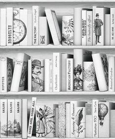Boekenkast vliesbehang bij Behangwebshop   behang - speels, kleine ...