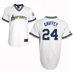 White Ken Griffey Authentic Throwback Jersey - Men's Majestic MLB Seattle Mariners #24 Cooperstown