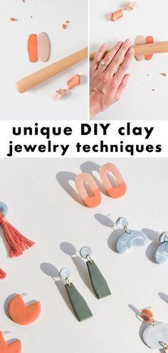 They give Me An Earful: How to make clay earrings + DIY-clay-jewelry-techniques that Turn heads - paper and stitch Find out how to Make Clay earrings + cool DIY-clay-jewelry-techniques Make Your Own Clay, How To Make Clay, Polymer Clay Crafts, Polymer Clay Jewelry, Fimo Clay, Cool Diy, Diy Jewelry, Jewelry Gifts, Jewelry Ideas