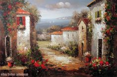 Painting: Mediterranean Tuscany Italy Town Homes Spring Flowers Stretched Lge Oil Painting