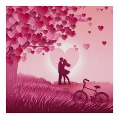 Romantic couple in pink meadow.