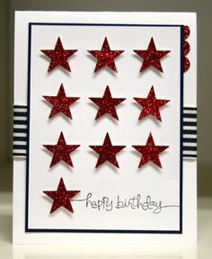 Star - red white and blue Birthday Card