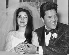 Elvis Presley and Priscilla Beaulieu Presley celebrate on their wedding day in Las Vegas on May 1st, 1967.