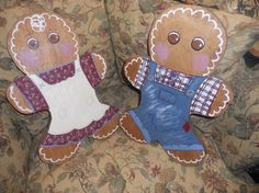 2 handmade wooden Gingerbread people boy and girl by EMTWTT, $22.99