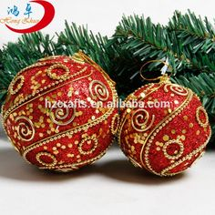 christmas ball Red foam ball with golden decoration Christmas tree decoration ball