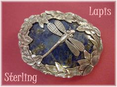 Dragonfly In The Garden ~ Lapis & Sterling Silver Brooch - New Age Zen by FindMeTreasures on Etsy