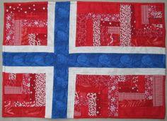 Scrappy Norwegian flag mini quilt for swap. Flag Quilt, Patch Quilt, Quilt Blocks, Iceland Flag, Norway Flag, Norwegian Flag, Norwegian Style, Scandinavian Quilts, Scandinavian Design
