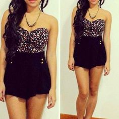 High waisted black shorts and floral top♥♥