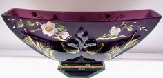 Fenton Bowl Verly's Birds on Aubergine Satin 9873WL D Free USA Shipping | eBay
