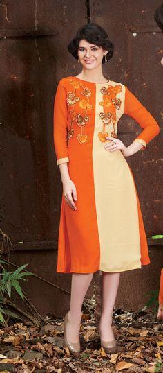 Orange & Cream Rich Designer Readymade Georgette Kurti