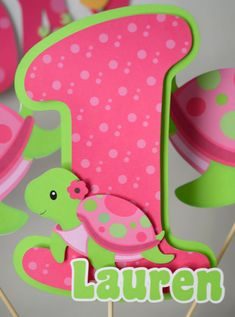 Pink Turtle Birthday Decoration Under the Sea by bcpaperdesigns