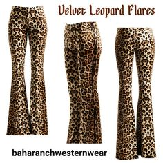 Cowgirl VELVET Leopard Bells Pants Flares Yoga BELL BOTTOMS 70s fashion Small  #other #leggings
