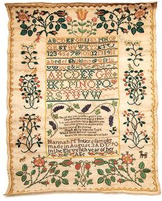 Hannah McIntier stitched this at 11 years old in 1790. Amazing stuff from an 11-yr-old. From U of Delaware Research collection