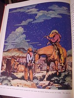 The book of Cowboys by Holling C. Holling, 1936. I have a copy of this book. The cover is a bit tattered but the amazing illustrations inside are still intact.