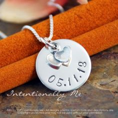 """Hand Stamped Jewelry  Personalized Sterling by IntentionallyMe, $36.00  """"Maybe put - Life Changes - above date or put TINY butterfly pendant above date. Or date on back & saying below the pendant on front."""