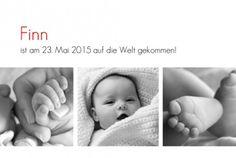 Geburtskarte Zeitgeist 3 Fotos by  Marianne Fournigault für Rosemood.de #babykarte #fotos #klassisch
