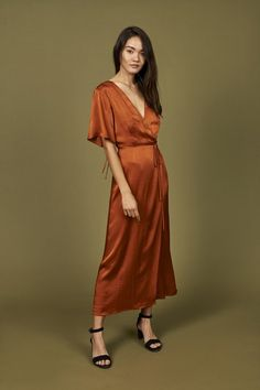 Lola Wrap Dress in Rust · Whimsy & Row · Sustainable Clothing & Lifestyle Brand Rust Orange Dress, Rust Color Dress, Burnt Orange, Dress Skirt, Wrap Dress, Dress Up, Copper Bridesmaid Dresses, Bridesmaid Ideas, Bridesmaids