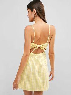 b6ee4cb6903 Plaid Tie Back Cami Dress - Yellow S   beautiful dresses