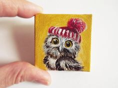 Rufus the owl original acrilic mini painting di GabLabmadeinItaly.miniature art# miniature painting# owl mini painting on canvas # original painting