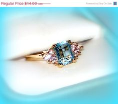 50% SALE Size 7 Vintage Ring | Aquamarine Swiss Blue Topaz Ring | Crystal Cocktail Promise Engagement Wedding | 18k Gold HGP Rhinestone | NOS by VintageTrinkets4u, $7.00