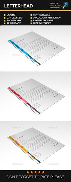 Corporate Letterhead Template by ThemeDevisers on @creativemarket - corporate letterhead template