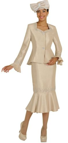 women's church suits and hats | Size 8 Champagne GMI G3822 Womens Flattering Church Suit