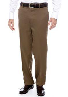 Saddlebred Mocha Big  Tall Straight Fit Flat Front Wrinkle Resistant Dress Pants