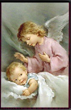 Obrazek - dziecko z Aniołem Stróżem