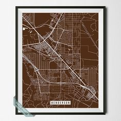 HENDERSON, NEVADA STREET MAP PRINT by Voca Prints! Modern street map art poster with 42 color choices. Perfect for anyone who loves to travel or is away from home.