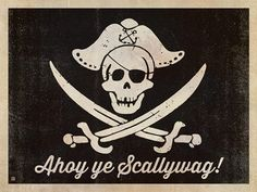 Pirate Flag - Ahoy, ye scallywag! This design is rated ARRRRR. Printed on gallery-grade matte-finished paper, this print is sure to add nautical, nostalgic charm to any pirate den, man cave, captain's galley, home or office wall.