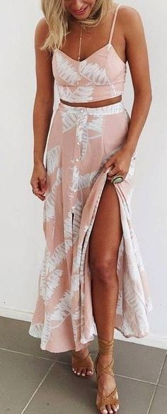 #Summer #Outfits / Crop Top - Pattern Print Slit Maxi Skirt