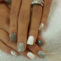 Love this look! What do you think? Comment below! #GreyNails #SilverNails #GlitterNails