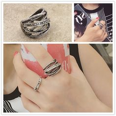 Fashion jewelry vintage silver plated rhinestone finger ring set  nice gift  for women ladies R1551