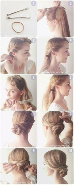 how to do an updo with 2 hair pins and a rubber band