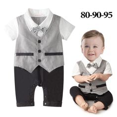 05c2c2bb1ce59 DHL EMS Free shipping Infants Baby boys Kids gentleman party one piece set  short Sleeve Romper