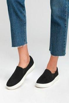 The Lulus Dylann Black Slip-On Flatform Sneakers are ready for wherever your adventures take you! Sleek vegan leather shapes these cool slip-on sneakers. Black Slip On Sneakers Outfit, Cute Sneakers, Flatform Sneakers, Wedding Flats, Lace Up Flats, Clearance Shoes, Womens Flats, Black Suede, Flat Shoes