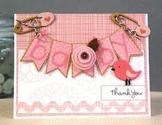 Cute baby girl card with banners.  Easy to make into a boy card with just a color change.