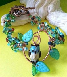 Owl Bead and Wire Crochet Jewelry