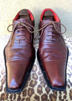See more. ZOTA Burgundy Leather Lace-Up Oxford Pointy Cap Toe Shoes  2e2e2b1d8