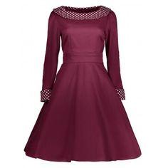 Polka Dot Print Knee Length Vintage Dress