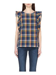 MIH JEANS Checked cotton-blend top
