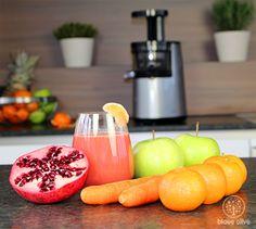 Entsafter-Rezept: Der Stressknacker - Karotten, Granatapfel, Mandarinen und Äpfel