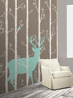 'Stag in the Woods' removable wallpaper mural. Perfect for Woodland themed nurseries and kids bedrooms!
