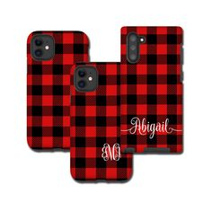 Classy red and black buffalo plaid pattern goes never out of style. Chic and timeless. You can add your name, monogram, initial, favorite quote etc or just this beautiful plain pattern. your choice Girl Phone Cases, Cute Phone Cases, Iphone 11 Pro Case, Iphone Cases, Iphone Phone, Iphone Wallpaper Fall, Apple Products, Out Of Style, Buffalo Plaid