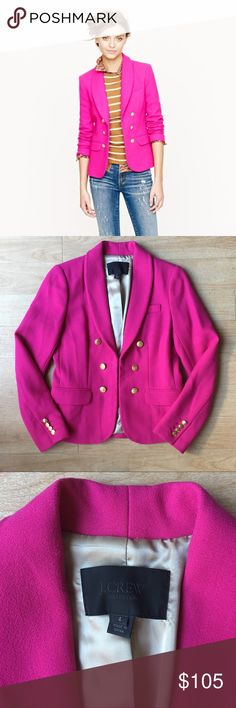 J Crew Collection Pink Wool Blazer Jacket Size 4 Excellent Condition. J Crew Collection crepe shawl Blazer in hot pink. 100% Wool. Feminine flattering tailored fitted jacket. Faux double breasted silhouette features a cleverly concealed hook-and-eye closure to achieve a sleek, slimming fit. And even though the front buttons are just for show, the ones at the cuffs are totally functional. Hits at hip. Fully lined. Size 4 J. Crew Jackets & Coats Blazers