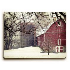 Red Barn in Snow Photo, Wood Plank Sign, Red Barn Photo, Wood Sign,... ($75) ❤ liked on Polyvore featuring home, home decor, wall art, rustic home decor, rustic wood wall art, wood plank wall art, barn wood signs and red wall art
