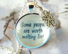 """Disney's """"Frozen"""" Inspired Necklace, Some People Are Worth Melting For, Frozen Necklace, Disney Frozen Jewelry, Snowflake Charm, Olaf"""