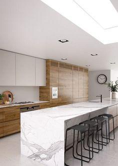 Contemporary Kitchen Design Inspiration - Kitchen - Info Virals - New Fashion and Home Design around the World Luxury Kitchen Design, Kitchen Room Design, Contemporary Kitchen Design, Home Decor Kitchen, Interior Design Kitchen, Home Kitchens, Kitchen Layout, Kitchen Ideas, Kitchen Designs