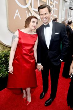 Lena Dunham got adorable with her Girls costar Andrew Rannells.