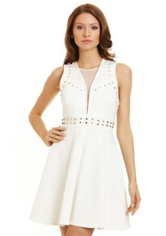 A.B.S. BY ALLEN SCHWARTZ Off White Sleeveless Studded Ponte Dress with Illusion Neckline